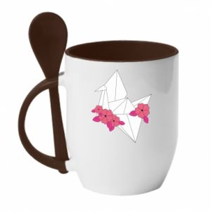Mug with ceramic spoon Paper Crane - PrintSalon