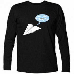 Long Sleeve T-shirt Paper plane dreams of flying - PrintSalon