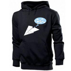 Men's hoodie Paper plane dreams of flying - PrintSalon