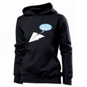 Women's hoodies Paper plane dreams of flying - PrintSalon