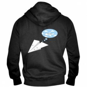 Men's zip up hoodie Paper plane dreams of flying - PrintSalon