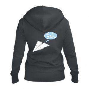 Women's zip up hoodies Paper plane dreams of flying - PrintSalon