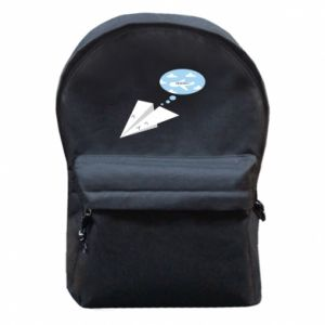 Backpack with front pocket Paper plane dreams of flying - PrintSalon