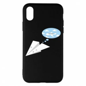 Phone case for iPhone X/Xs Paper plane dreams of flying - PrintSalon