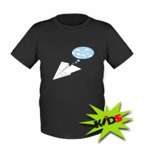 Kids T-shirt Paper plane dreams of flying - PrintSalon