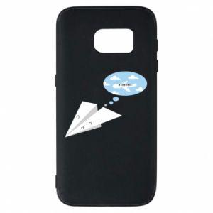 Phone case for Samsung S7 Paper plane dreams of flying - PrintSalon