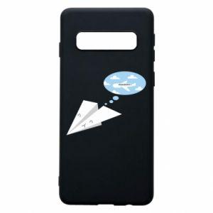 Phone case for Samsung S10 Paper plane dreams of flying - PrintSalon