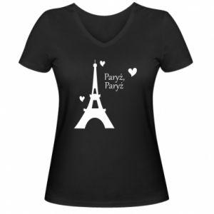 Damska koszulka V-neck Paryż, Paryż