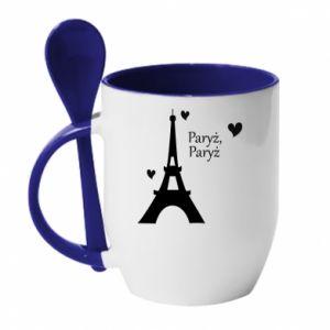 Kubek z ceramiczną łyżeczką Paryż, Paryż