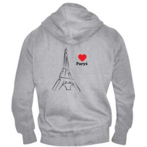 Męska bluza z kapturem na zamek Paryżu, kocham cię - PrintSalon