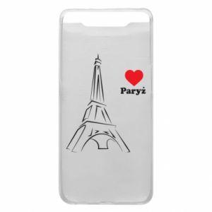 Etui na Samsung A80 Paryżu, kocham cię