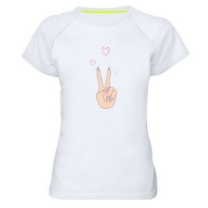 Women's sports t-shirt Peace and love