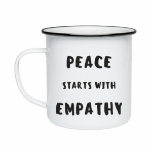 Kubek emaliowane Peace starts with empathy