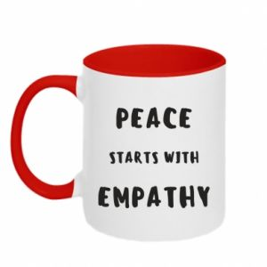 Kubek dwukolorowy Peace starts with empathy