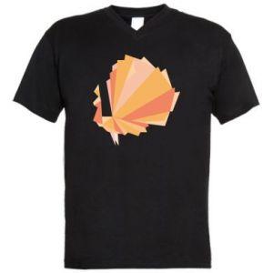Men's V-neck t-shirt Peacock Abstraction - PrintSalon