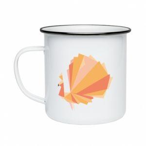 Enameled mug Peacock Abstraction - PrintSalon