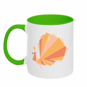 Two-toned mug Peacock Abstraction - PrintSalon
