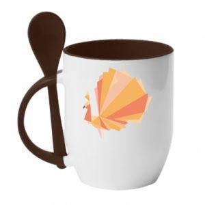 Mug with ceramic spoon Peacock Abstraction - PrintSalon