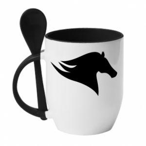 Kubek z ceramiczną łyżeczką Wild Horse