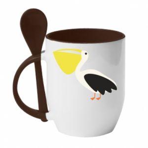 Kubek z ceramiczną łyżeczką Pelican