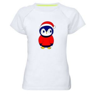 Women's sports t-shirt Penguin in a hat