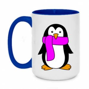 Two-toned mug 450ml Penguin in a scarf