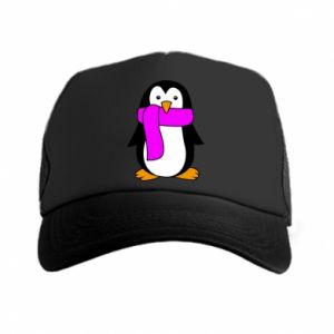 Trucker hat Penguin in a scarf