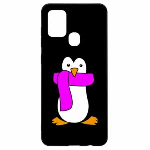 Etui na Samsung A21s Penguin in a scarf