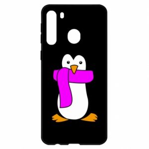 Etui na Samsung A21 Penguin in a scarf