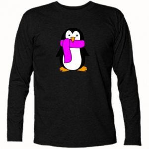 Koszulka z długim rękawem Penguin in a scarf - PrintSalon