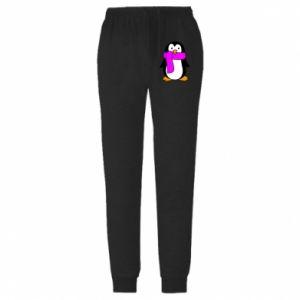 Męskie spodnie lekkie Penguin in a scarf - PrintSalon