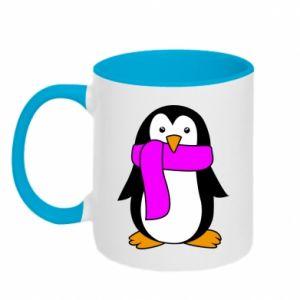 Kubek dwukolorowy Penguin in a scarf - PrintSalon