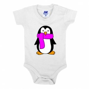 Baby bodysuit Penguin in a scarf