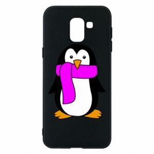 Phone case for Samsung J6 Penguin in a scarf