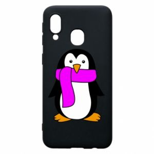 Phone case for Samsung A40 Penguin in a scarf