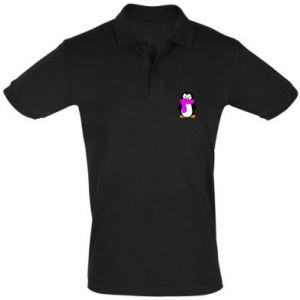Men's Polo shirt Penguin in a scarf