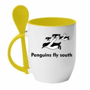 Kubek z ceramiczną łyżeczką Penguins fly south