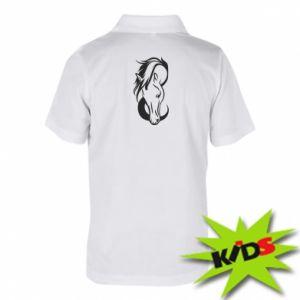 Dziecięca koszulka polo Pensive horse - PrintSalon