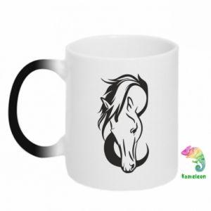 Kubek-kameleon Pensive horse - PrintSalon