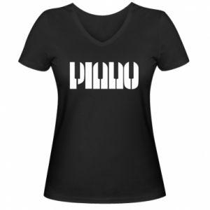 Damska koszulka V-neck Piano