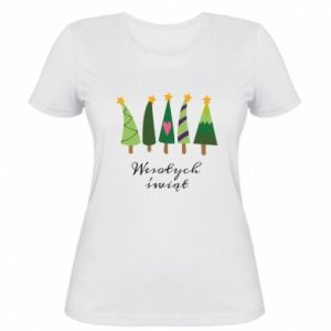 Women's t-shirt Five Christmas trees happy holidays