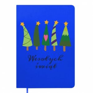 Notepad Five Christmas trees happy holidays