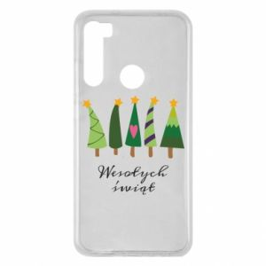 Xiaomi Redmi Note 8 Case Five Christmas trees happy holidays