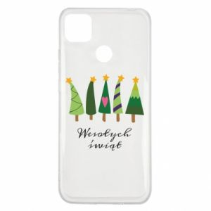 Xiaomi Redmi 9c Case Five Christmas trees happy holidays