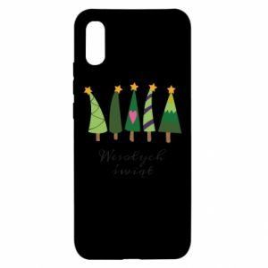 Xiaomi Redmi 9a Case Five Christmas trees happy holidays