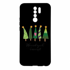 Xiaomi Redmi 9 Case Five Christmas trees happy holidays