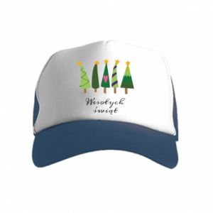Kid's Trucker Hat Five Christmas trees happy holidays