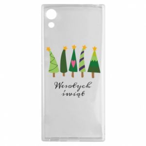 Sony Xperia XA1 Case Five Christmas trees happy holidays