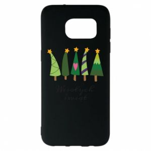 Samsung S7 EDGE Case Five Christmas trees happy holidays