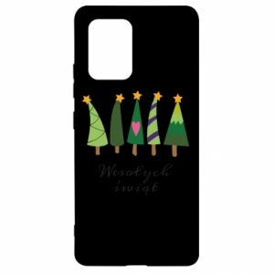 Samsung S10 Lite Case Five Christmas trees happy holidays